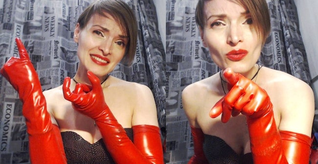 latex mistress shows dick measuring fingers