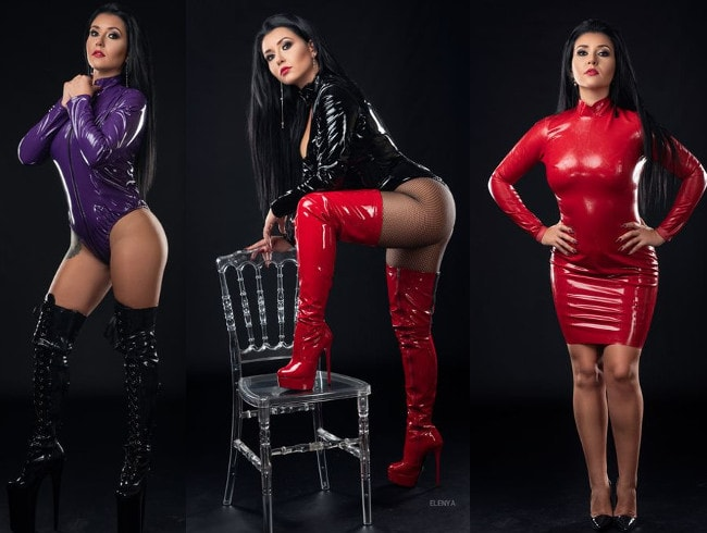 busty domme posing in various latex fetish outfits