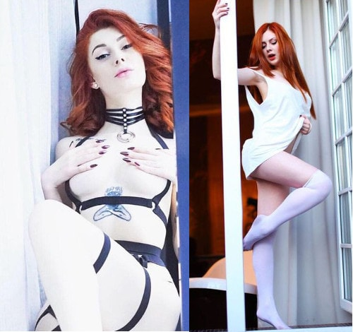 ginger domme poses lingerie & leather mistress gear