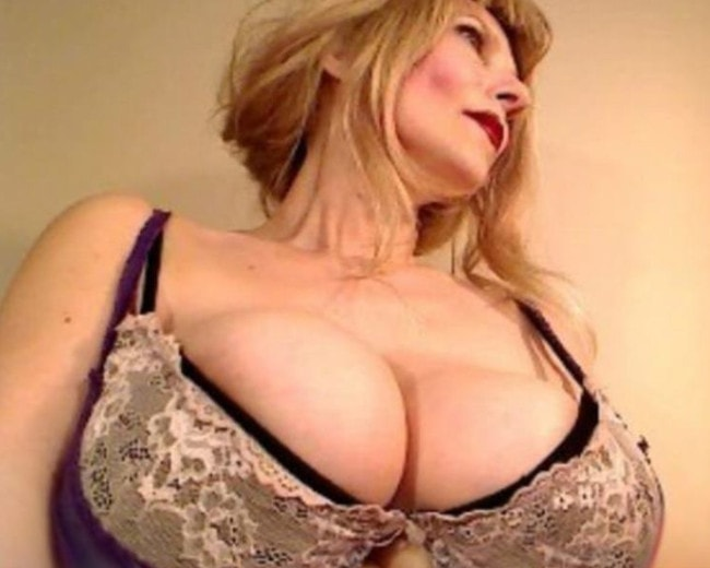 huge tits milf busting out of bra