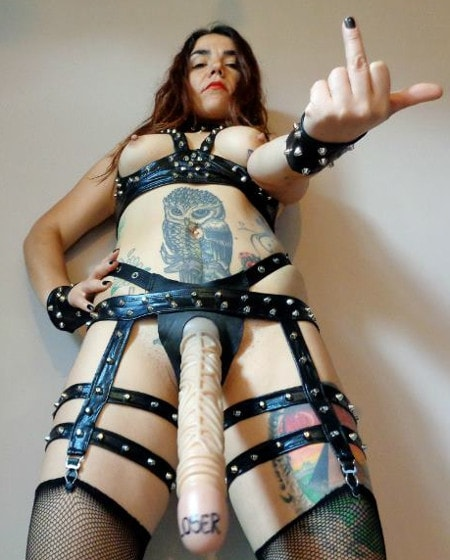 topless strapon domme wearing huge strapon dildo
