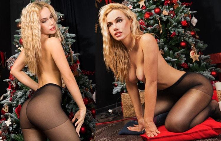 topless blonde posing pantyhose