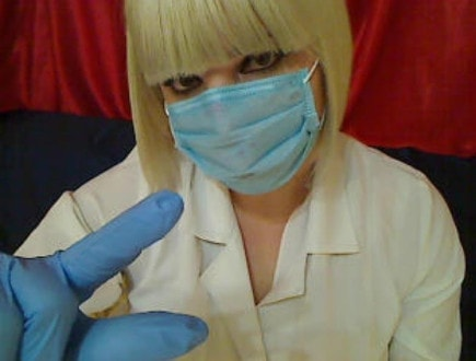 medical mask mistress dick measuring fingers